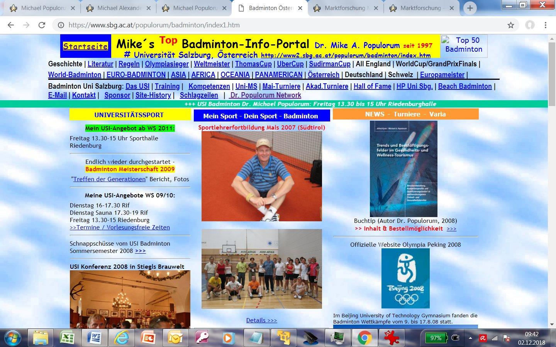 Mikes Badminton Seite USI Salzburg